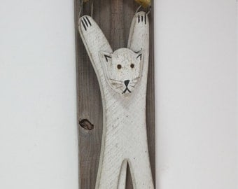 Rustic cat with star wall decor home decor cat with hanger yellow star white cat