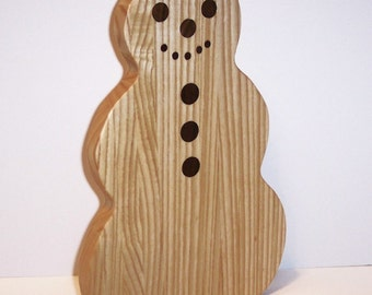 Snowman Cutting Board Handcrafted from Ash Hardwood
