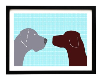 Blue Great Dane and Brown Labrador  Dogs  -  Fine art print, dog art prints, two dogs, dog decor, silhouette