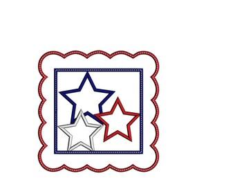 Patriotic Scallop Star Applique Shirt