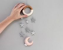 Moon and Star Nursery Decor. Glitter Wall Hanging. Cascading Silver Star Mobile. Modern Baby Mini Dreamer. Handmade by Ordinary Mommy Design