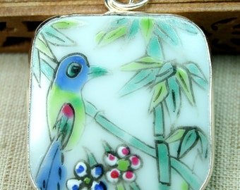 Ming Qing Dynasty Porcelain Pottery Shard Pendant - Banboo and Birds