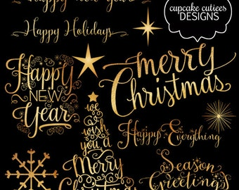 Gold Foil 02 - Snowflakes Stars & Season Greetings Digital Photographer Clipart Word Overlays- Instant DOWNLOAD