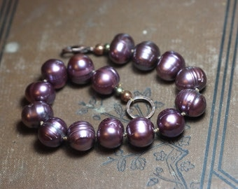 Pink Pearl Bracelet Dusty Mauve Knotted Pearl Bead Bracelet Rustic Jewelry