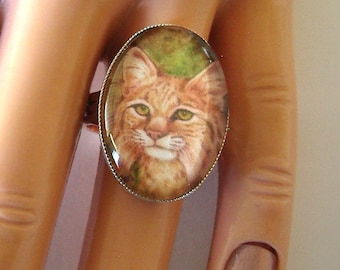 Cat Jewelry Adjustable Ring Bobcat School Mascot Art Glass