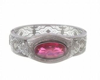Art Deco Bangle, Filigree Ruby Designer Vintage Wide Cuff, 1920s Fine Antique Art Deco Jewelry, Wedding Jewelry, Art Deco Jewellery