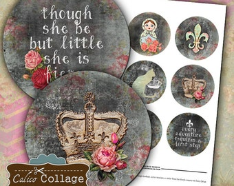 French Collage Sheet, Pocket Mirror Images, Fleur De Lis Collage Sheet, Digital Circles, Printable Download, Digital Images