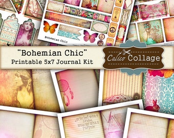 Bohemian Chic, Printable Journal Kit, 5x7 Journal Pages, Scrapbooking, Decoupage, Mixed Media Art, Digital Journal Kit, Junk Journal