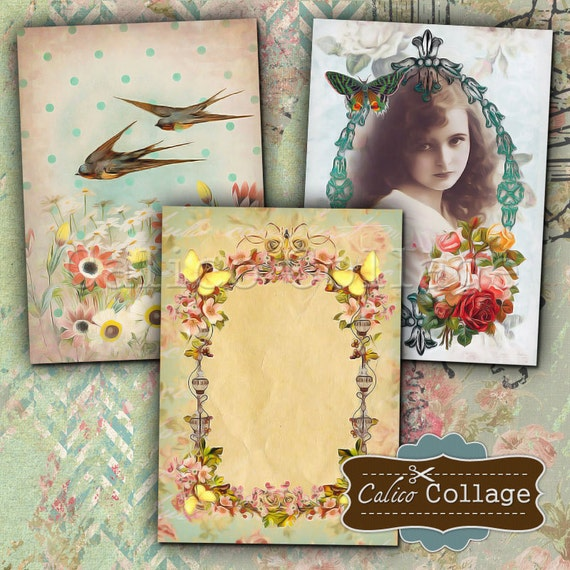 Spring Elegance Digital Collage Sheet Printable 2.5x3.5 inch Gift Tags Jewelry Holders Greeting Cards Vintage Ephemera Printable Downloads