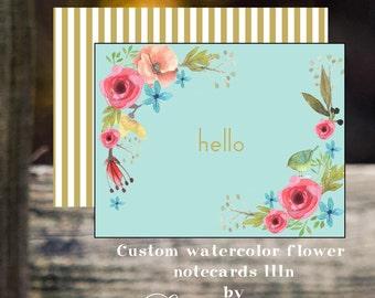 Custom personalized  notecard friendship birthday gift stationery botanical print graduation bridesmaid gifts hostess gift