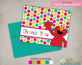 Little Girl Elmo Party Thank You Notes, Pink Sesame Street Thank You Card with Envelopes #B103-G