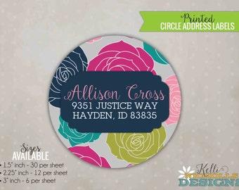 Bright Rose Circle Return Address Labels, Custom address label Stickers #S107
