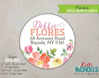 Watercolor Floral Circle Return Address Labels, Custom address label Stickers #S111