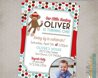 Sock Monkey Boy Birthday Party Invitation, Custom 1st Birthday Printable Sock Monkey Invite  #B126-B