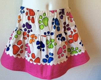 Girl's colorful paw prints twirly skirt :  CLOSEOUT