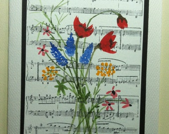 Watercolor Card of Wildflowers w/Musical Background #4