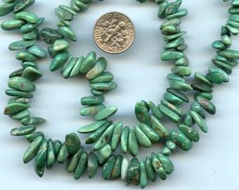 "TURQUOISE Nevada Graduated Petals Natural Stone Natural Color 6-10mm 16"" strand 33-38 grams"