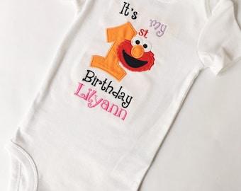 Elmo Birthday Shirt Girl, Elmo 1st Birthday, Elmo Birthday Shirt, Elmo 2nd Birthday, Sesame Birthday Shirt, Elmo Shirt, Elmo Onesie, Elmo