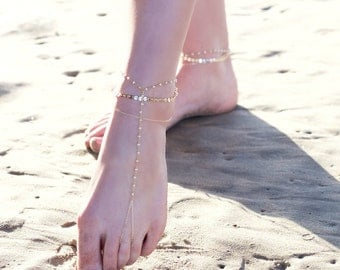 BELLA BAREFOOT SANDALS- triple chain anklet / foot chain / barefoot sandal / body jewelry / anklets / turquoise anklet