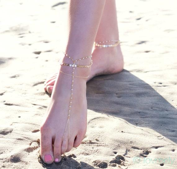 BELLA BAREFOOT SANDALS- triple chain anklet / foot chain / barefoot sandal / body jewelry / anklets / turquoise anklet