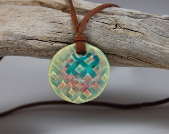 Waffle Design Glass Infused Pottery Pendant Necklace With Brown Cord J08