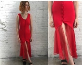 Valentine SALE 80s red bandage dress / stretchy tight body con sleeveless dress with asymmetrical sheer mermaid flounce  XS x small