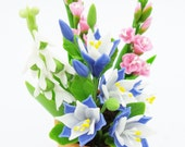 Columbine, Gladiolus and Lily of the Valley, English Cottage Garden Miniature Polymer Clay Flowers 1 piece