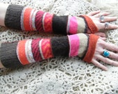 Gorgeous striped long arm warmers in browns orange and a shot of pink
