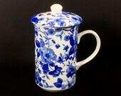 Vintage Lidded Tea or Coffee Mug, St. George, Blue Floral Chintz, Fine Bone China, Made in Scottland