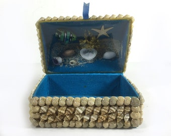 Vintage Shell Encrusted Trinket Box - Blue Felt Lining, Hawaii Souvenir