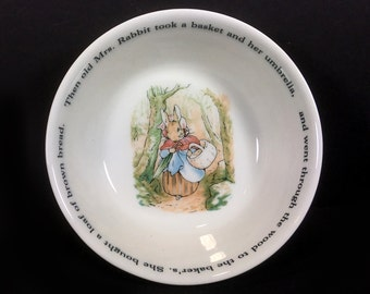 Vintage Beatrix Potter Child's Cereal Bowl, Wedgwood, Peter Rabbit (5 Available)