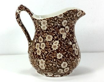 """Vintage Brown and Cream """"Calico"""" Transferware Pitcher, Crownford China Co. Inc., Staffordshire, England"""
