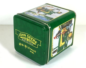 Vintage John Deere Tractor Advertising Metal Storage Tin