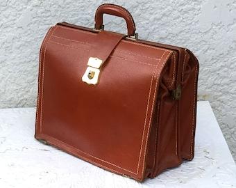 Classic Vintage Chestnut Brown Leather Briefcase, Satchel or Portfolio, Brass Hardware, Rexbilt, Split Cowhide
