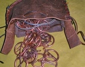 Wearable Copper Rune Set and Leather Drawstring Pouch