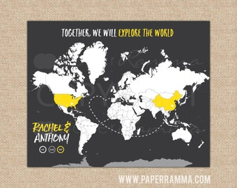 Gift for Newlyweds, Modern Travel Map, Map Print, World Map Canvas, Poster, World Map Wall Art, Large World Map // H-I17-1PS HH8 06P