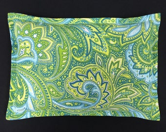 Microwavable Corn Heating Pad, Corn Bags, Arthritis, Heated Bag, Massage Therapy, Muscle Aches, Hostess Gift - Green Blue Paisley