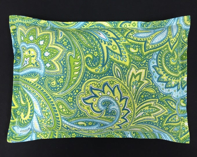 Corn Heating Pad, Corn Bags, Arthritis, Microwave Heated Bag, Spa Massage Therapy, Muscle Aches, Relaxation Hostess Gift- Green Blue Paisley