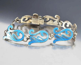 Sterling Silver Enamel Bracelet, Miguel Arias Taxco Bracelet, Mexico 925 Silver Bracelet, Mexican Jewelry, Wave Bracelet, Margot de Taxco