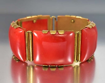 Red Bakelite Bracelet, Art Deco Bracelet, Wide Brass Hinged Bracelet, Cuff Bracelet, Vintage 1930s Art Deco Jewelry Bangle, Bakelite Jewelry