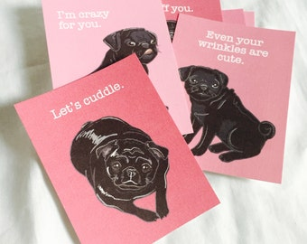 Black Pug Valentine Cards - Mini Eco-friendly Set of 8