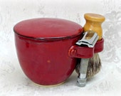 Second- Lidded Shaving Mug in Barn Red