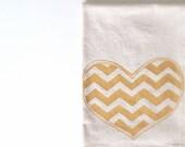 Cotton Kitchen Towel - Chevron Heart - Choose your ink color