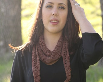 Brown 100% Silk Lace Hand Knit Scarf Neckerchief OOAK Gift for Her