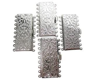 9 Strand Clasp, Brass Box Clasp, Rectangle Clasp, Multi Strand Clasp, Silver Plated Clasp, SKU 5086