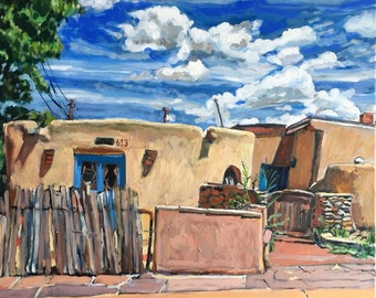 Santa Fe Painting Adobe and Clouds Southwestern Architecture Print of Painting New Mexico Adobe clouds and blue sky Gwen Meyerson