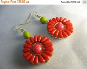 Flower earrings ... large pink and red petaled flower earrings with green glass
