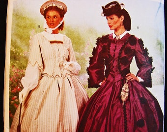 Historical Womens Civil War Dress Pattern Gone With The Wind Dress Costume Sewing Pattern Misses size 12 14 16 UNCUT