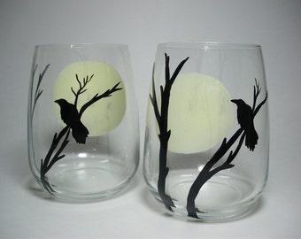Halloween  Edgar Allan Poe The Raven Full Moon Stemless Wine Glasses Eerie Hand painted