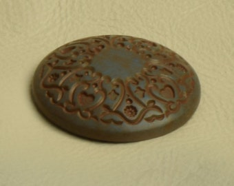 Button  flat on back , 36mm, plated Cinnamon Patina  finish, 4 each 9648